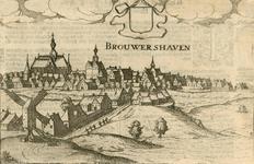 1680 Gezicht op de stad Brouwershaven van de landzijde, met boven leeg wapenschild, en tekst op de achterzijde