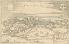 1681 Gezicht op de stad Brouwershaven, vanuit het noordoosten, met leeg wapenschild (links) en wapen van Zeeland ...