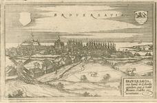 1682 Gezicht op de stad Brouwershaven, vanuit het noordoosten, met leeg wapenschild (links) en wapen van Zeeland ...