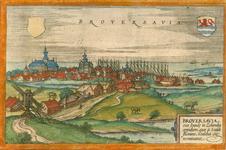 1683 Gezicht op de stad Brouwershaven, vanuit het noordoosten, met leeg wapenschild (links) en wapen van Zeeland ...