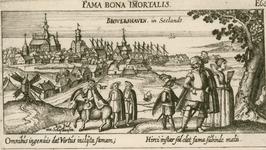 1684 Gezicht op de stad Brouwershaven van de landzijde, met op de voorgrond personen, waaronder Ein Jud von Schafhausen ...