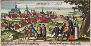 1685 Gezicht op de stad Brouwershaven van de landzijde, met op de voorgrond personen, waaronder Ein Jud von Schafhausen ...