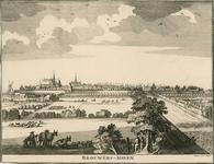 1686 Gezicht op de stad Brouwershaven van de landzijde, met op de voorgrond personen, waaronder een herder met schapen ...