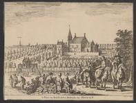 169 Gezicht op het slot ter Hooge te Koudekerke (W.), met op de voorgrond personen en op de achtergrond de stad Middelburg