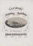 1704 Het hotel en badhuis Catsburg aan het water bij Brouwershaven, in versierd ovaal, opgeplakt op reclameblad