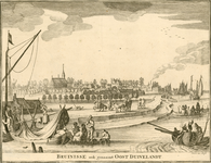 1705 Gezicht op het dorp Bruinisse, gezien vanuit het noordoosten, met de haven, en veel bedrijvigheid en personen, ...