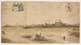 1765 Gezicht op het dorp Haamstede, vanuit het zuiden, met op de achtergrond de duinen, en op de voorgrond ruiters in ...