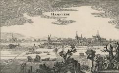 1766 Gezicht op de heerlijkheid Haamstede, vanuit het zuiden, met op de achtergrond de duinen, en op de voorgrond ...