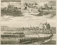1768 Gezicht op de heerlijkheid Haamstede, in vogelvlucht, met op de achtergrond de duinen, en op de voorgrond personen ...