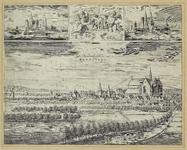1769 Gezicht op de heerlijkheid Haamstede, in vogelvlucht, met op de achtergrond de duinen, en op de voorgrond personen ...