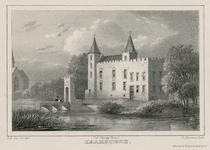 1778 Gezicht op het kasteel van Haamstede vóór de brand, met twee personen op de brug