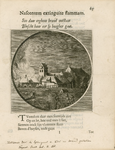 1789 Gezicht op het dorp Kerkwerve, door de Spanjaarden in brand gestoken, met op de voorgrond personen, waaronder een ...