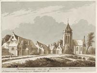 1794 Gezicht op het dorp Borrendamme, met de rooms-katholieke kerk