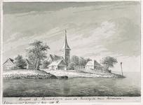 1798 Gezicht op het dorp Rengerskerke (Schouwen), met de rooms-katholieke kerk, in 1662 in het water verdwenen
