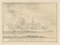 1799 Gezicht op het dorp Rengerskerke (Schouwen), met de rooms-katholieke kerk, in 1662 in het water verdwenen