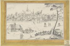 1822 Gezicht op het klooster Sion te Noordgouwe, met personen, waaronder monniken