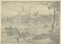 1823 Gezicht op het klooster Sion te Noordgouwe, met personen, waaronder monniken