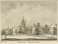 1839 Gezicht op het dorp Oosterland, met Nederlandse Hervormde kerk, en personen, waaronder een zakkendrager