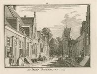 1842 Gezicht in het dorp Oosterland, met op de achtergrond de Nederlandse Hervormde kerk, en personen, twee ...