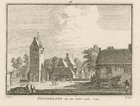 1843 Gezicht in het dorp Oosterland, met de Nederlandse Hervormde kerk, en personen, twee afbeeldingen op één plaat