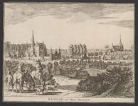 1873 Gezicht op het dorp Renesse en het kasteel Moermond, vanuit het noorden, met een visser en een gezelschap te paard ...