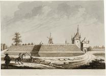 1908 Gezicht op de stad Zierikzee aan de zijde van het bolwerk bij de Zuidhavenpoort, met wachters en ruiters met ...