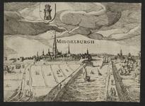 191 Gezicht op de stad Middelburg van de zijde van de haven, met personen op de voorgrond, het wapen van Middelburg, en ...