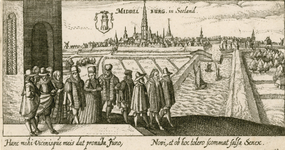 192 Gezicht op de stad Middelburg van de zijde van de haven, met op de voorgrond bruiloftstoet, komend uit een kapel, ...
