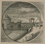 1928 Gezicht op de Hoofdpoort te Zierikzee, met personen, waaronder wachters, in ovaal, afgebroken in 1817