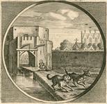 1929 Gezicht op de oude Begijnenpoort (afgebroken 1620) te Zierikzee, met honden, en op de achtergrond een deel van de ...
