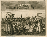 193 Gezicht op de stad Middelburg van de zijde van de haven, met hout op de kade en op de voorgrond een vrouw (Pandora) ...