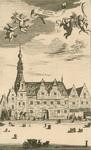 1949 Gezicht op het stadhuis aan de Meelstraat te Zierikzee, met de wapens van Zeeland (links) en Zierikzee (rechts), ...