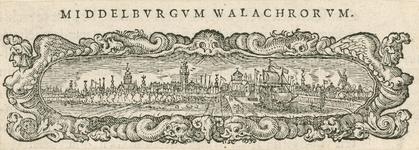 196 Gezicht op de stad Middelburg van de zijde van de haven, in de vorm van een vignet, met versierde rand en tekst aan ...