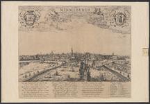 197 Gezicht op de stad Middelburg van de zijde van de haven, met personen, wapens van Zeeland en Middelburg, onder ...