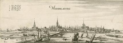 199 Gezicht op de stad Middelburg van de zijde van de haven, met personen, en linksboven verklaring der cijfers (Duits)