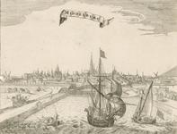 200 Gezicht op de stad Middelburg van de zijde van de haven, met personen en rijtuig
