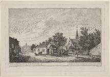 2013 Gezicht in het dorp Oud-Vossemeer, met de Nederlandse Hervormde kerk, een travalje, en een kar, getrokken door geiten