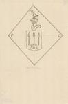2070 Het ruitvormig wapenbord van P. Grenu, gehelmd met vogel, voorheen in de Nederlandse Hervormde kerk te Sint ...