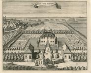 2084 Gezicht op het kasteel te Stavenisse, van de voorzijde, in vogelvlucht, met op de voorgrond personen, waaronder wachters