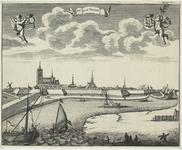 2092 Gezicht op de stad Tholen, vanuit het zuiden, met op de voorgrond vissers, en boven de wapens van Zeeland (links) ...