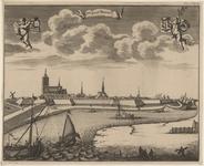 2093 De stad Tholen, vanuit het zuiden, met op de voorgrond vissers, en boven de wapens van Zeeland (links) en Tholen ...