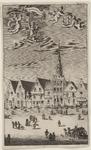 2104 Het stadhuis, met aangrenzende panden te Tholen, en op het plein een entourage van diverse personen, met de wapens ...