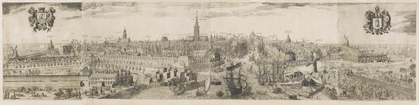 212 Panorama van Middelburg, gezien van de zijde van de haven, met gekroonde wapens van Zeeland en Middelburg, gedragen ...