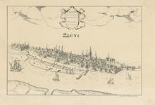 2190 Gezicht op de stad Sluis, vanuit het noordwesten, met de haven, en midden boven het wapen van de stad
