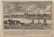 2195 Gezicht op de stad Sluis, vanuit het noordwesten, en onder beschrijving van de stad (Nederlands/Frans). Met ...