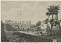 2204 Gezicht op het kasteel van Sluis, na de verwoesting door de Fransen in 1794, met personen, waaronder in uniform, ...