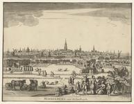 221 Gezicht op de stad Middelburg, vanuit het noorden, met vee en personen op de voorgrond