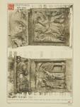 2220b Twee in hout gesneden sleutelstukken in de bovenzaal van het stadhuis te Sluis, met bijbelse taferelen (Kain en ...