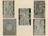 2221d Vijf in hout gesneden sleutelstukken in de bovenzaal van het stadhuis te Sluis, met graven van Vlaanderen, en ...