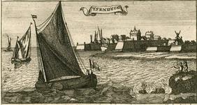 2231 Gezicht op de stad IJzendijke, vanaf het water, met rechtsvoor personen, en onder beschrijving (Nederlands/Frans). ...